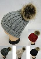 Ladies Knitted Hat with Fur PomPom [Tight Knit]